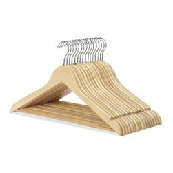 Whitmor - Wood Suit Hangers 16 Set - Organize your closet in style with Whitmor's set of 16 wood suit hangers. These hangers are made of solid hardwood with a polished chrome swivel hook. Multiple coatings of lacquer create a smooth snag free finish. Each hanger features a slim space saving body a trouser bar to hold slacks and a set of notches to securely hang tops with straps.