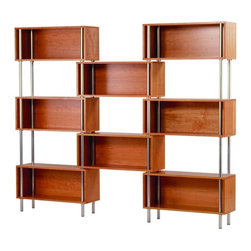 """Blu Dot Chicago 8 Box Shelf - I first spied this modern shelving unit on a show called """"Area"""" many years ago, and it still looks fresh as a daisy. Deep enough for books with plenty of space for art and sculpture, the wooden boxes play peekaboo with the open wall space."""