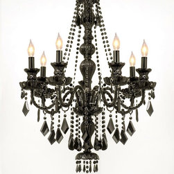 "The Gallery - NEW! JET BLACK CRYSTAL CHANDELIER LIGHTING H37"" x W26"" FREE S/H! - NEW! JET BLACK CRYSTAL CHANDELIER!. A Great European Tradition. Nothing is quite as elegant as the fine crystal chandeliers that gave sparkle to brilliant evenings at palaces and manor houses across Europe. This unique version from the Royal Collection features the JET BLACK CRYSTAL 100% crystal.The timeless elegance of this chandelier is sure to lend a special atmosphere in every home! Size:H37"" x W26"" 7 LIGHTS **FREE SHIPPING!** Assembly Required. G46-BLACK/SM/490/7"