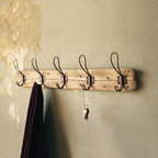 Recycled Wood Coat Rack - Give your entryway or bathroom a genuine rustic feel with our recycled wood coat rack featuring five vintage style wire hooks.