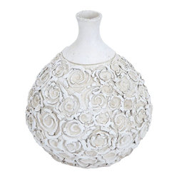 Benzara - Durable Ceramic Bottle Vase in Elegant Design - Add this well-designed vase to your interiors to offer your ambience a charm and appeal with or without flowers in it. Ideal to be kept in any commercial or private interiors, this vase is handy and is easily portable. Place it on your bedside or in your living room, your interiors are sure to dazzle with its presence. It perfectly suits any modern or conventional decor due to its timeless design. The vase is white in color with a flower design all over the pot with a plain neck. This round vase is a perfect decor item on your corner table. You can use this vase in your office decor as well for an elegant look. The high quality ceramic body gives it a beautiful, durable and long life.