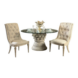 American Drew - American Drew Jessica McClintock Boutique 4 Piece Dining Room Set - Belongs to Jessica McClintock Boutique Collection by American Drew, White Veil Finish, Ornate Style, Round Glass Table Top, Pedestal Base, Dining Table 1, Side Chair 2, Server 1