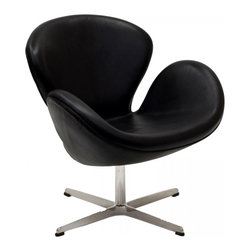 Modway Imports - Modway EEI-527-BLK Wing Leather Lounge Chair In Black - Modway EEI-527-BLK Wing Leather Lounge Chair In Black