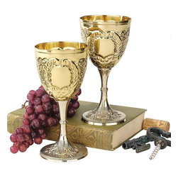 "EttansPalace - 6.5"" Medieval Knights Royal Chalice Brass Wine Goblet Cup - Raise a toast in the spirit of the Renaissance with these embossed brass goblets. Though only Medieval knights of the realm were once allowed such finery, you and your guests may now raise an 8-oz. glass to cheer a marriage, a birth or any festive occasion worthy of a royal celebration."