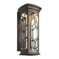 KICHLER - KICHLER 49229OZLED Franceasi LED Transitional Outdoor Wall Sconce - Castle windows throughout Europe were designed with a wide variety of tracery, mullions and stonework elements. The Olde Bronze panels of the Franceasi family were created with these wonderful windows in mind. The intricate details create delightful shadow patterns on adjoining wall surfaces and walkways. Meets Energy Star, Title 24 and Dark Sky requirements. Rated for wet locations. Photocell and light source included.