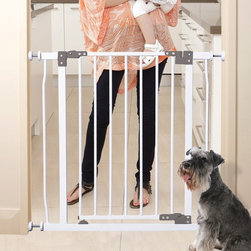 Dreambaby - Dreambaby Liberty Gate - L854 - Shop for Safety Gates from Hayneedle.com! The Dreambaby Liberty Gate has your back when it comes to keeping little ones and furry friends safe in your home. This metal gate adjusts to automatically close and lock behind you while you re on the move or it can stay open when not in use. The two-step slide-and-lift latch feature allows an adult to quickly get through the door with one hand. And conveniently the door can open in either direction. The pressure-mounted gate easily adjusts to fit doorways and hallways and includes hardware to mount onto stairs. An optional extension fits openings up to 111W in.About Dream BabySince 1998 Dream Baby has been developing child safety products that exceed expectations. Their focus is on keeping babies and children safe from injuries and accidents and they continue to design innovative products to accomplish their goal. Sold throughout the world Dream Baby products now number more than 200 all geared toward the safety and well-being of babies.