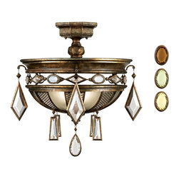 Fine Art Lamps - Encased Multi-colored Gems Semi-Flush Mount, 711440-1ST - Crown the ceiling of your favorite formal setting with this semi-flush mount. Pearly gems and a rich bronze patina combine for a look that's stately yet sparkling.