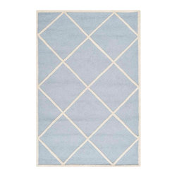 Safavieh - Babette Hand Tufted Rug, Light Blue / Ivory 5' X 8' - Construction Method: Hand Tufted. Country of Origin: India. Care Instructions: Vacuum Regularly To Prevent Dust And Crumbs From Settling Into The Roots Of The Fibers. Avoid Direct And Continuous Exposure To Sunlight. Use Rug Protectors Under The Legs Of Heavy Furniture To Avoid Flattening Piles. Do Not Pull Loose Ends; Clip Them With Scissors To Remove. Turn Carpet Occasionally To Equalize Wear. Remove Spills Immediately. Bring classic style to your bedroom, living room, or home office with a richly-dimensional Safavieh Cambridge Rug. Artfully hand-tufted, these plush wool area rugs are crafted with plush and loop textures to highlight timeless motifs updated for today's homes in fashion colors.