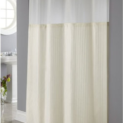 Hookless - Hookless Beige Herringbone Shower Curtain with It's a Snap Fabric Liner Multicol - Shop for Shower Curtains from Hayneedle.com! Keep things clean and classic in the bathroom with the Hookless Beige Herringbone Shower Curtain with It's a Snap Fabric Liner. Step out of the shower feeling refreshed by this sophisticated shower curtain featuring an off-white body with subtle stripes. A sheer top panel lets in extra light while 100% 150-density plainweave polyester construction keeps water in the shower and off the floor. The patented flex-on rings in brilliant chrome make hanging this curtain a breeze. Machine-wash this curtain on gentle to keep it in top-notch shape for showering. Simply hand-wash the liner with mild soap and water for best results. Fits most standard showers.