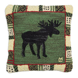Chandler 4 Corners - Argyle Spruce Moose Hooked Pillow - Rustic reverie, rich textures and outdoor-inspired details define our Cabin Fever Pillow Collection.