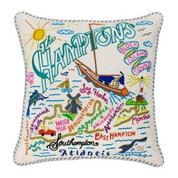 CATSTUDIO - The Hamptons Pillow by Catstudio - Celebrate the states! These pillows from Catstudio's Geography Collection are delightful keepsakes for remembering the hometown you grew up in or commemorating your favorite vacation spot. Embroidered entirely by hand (over 35 hours go into each one!) with black velvet piping, these make the perfect gift for all occasions! Removable cotton cover and polyfill pillow form. Cover is dry clean only.