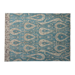 Denim Blue Area Rug, Ikat Uzbek Design Hand Knotted 8'X10' 100% Wool Rug SH7569 - Hand Knotted Ikat & Suzani Rugs are bold and usually the focal point of the room.  The design is large and is all highly in demand by designers.