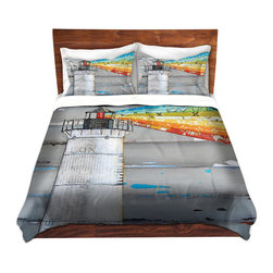 DiaNoche Designs - Duvet Cover Twill - There is a Light That Never Goes Out - Lightweight and soft brushed twill Duvet Cover sizes Twin, Queen, King.  SHAMS NOT INCLUDED.  This duvet is designed to wash upon arrival for maximum softness.   Each duvet starts by looming the fabric and cutting to the size ordered.  The Image is printed and your Duvet Cover is meticulously sewn together with ties in each corner and a concealed zip closure.  All in the USA!!  Poly top with a Cotton Poly underside.  Dye Sublimation printing permanently adheres the ink to the material for long life and durability. Printed top, cream colored bottom, Machine Washable, Product may vary slightly from image.
