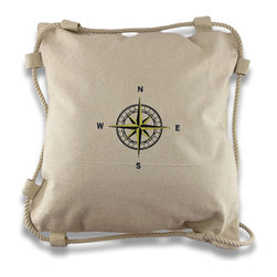 Zeckos - Natural Cotton Embroidered Compass Rose Throw Pillow 15 in. - This handsome natural colored cotton canvas throw pillow adds sophistication to your nautical decor. It features an embroidered black and gold compass rose in the center, and trimmed with twisted cotton rope resembling a life ring. It measures 15 inches by 15 inches and has a hook and loop closure on the back to easily remove the polyfil insert, so cleaning is a breeze! Recommended cleaning is to spot clean or dry clean only. It`s an excellent addition in any home, and right in place on a boat!
