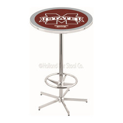 Holland Bar Stool - Holland Bar Stool L216 - 42 Inch Chrome Mississippi State Pub Table - L216 - 42 Inch Chrome Mississippi State Pub Table  belongs to College Collection by Holland Bar Stool Made for the ultimate sports fan, impress your buddies with this knockout from Holland Bar Stool. This L216 Mississippi State table with retro inspried base provides a quality piece to for your Man Cave. You can't find a higher quality logo table on the market. The plating grade steel used to build the frame ensures it will withstand the abuse of the rowdiest of friends for years to come. The structure is triple chrome plated to ensure a rich, sleek, long lasting finish. If you're finishing your bar or game room, do it right with a table from Holland Bar Stool.  Pub Table (1)