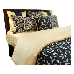 Melody Duvet Set, Ultra King - A Masculine Navy and off White vine print with accents of stripes, diamonds, solid and zebra prints. Pillows are reversible for a touch of zebra.