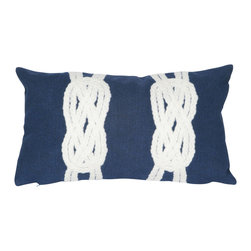 "Trans-Ocean Inc - Double Knot Navy 12"" x 20"" Indoor Outdoor Pillow - The highly detailed painterly effect is achieved by Liora Mannes patented Lamontage process which combines hand crafted art with cutting edge technology. These pillows are made with 100% polyester microfiber for an extra soft hand, and a 100% Polyester Insert. Liora Manne's pillows are suitable for Indoors or Outdoors, are antimicrobial, have a removable cover with a zipper closure for easy-care, and are handwashable.; Material: 100% Polyester; Primary Color: Navy;  Secondary color: white; Pattern: Double Knot; Dimensions: 20 inches length x 12 inches width; Construction: Hand Made; Care Instructions: Hand wash with mild detergent. Air dry flat. Do not use a hard bristle brush."