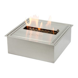 """Ignis Fireplaces - Ignis EB1212, Ethanol Fireplace Burner Insert - Go earth-friendly by ditching your existing wood-burning fireplace and using this EB1212 Ethanol Fireplace Burner Insert instead. Just stick this insert into your existing fireplace and start burning eco-friendly ethanol instead of wood. Help the planet breathe easier while also eliminating the mess soot and fuss of using a wood-burning unit. This sleek-looking insert holds up to 5 liters of fuel and it burns around 8 hours between fills so it will keep you toasty warm and comfy all day long. This double-layered unit has an approximate output of 11 500 BTUs so it can sufficiently heat an average-sized space and it comes with a bonus damper tool. Dimensions: 12"""" x 12"""" x 4 1/2""""."""