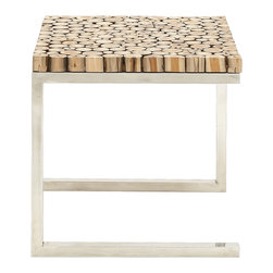 Stainless Steel Teak Wood Side Table - Feel the presence of nature be getting home this stainless steel teak wood side table. It has stainless steel made legs with a square shaped top made of teak wood logs. This stainless steel teak coffee table can be used in your living room or bed room. Keep a vase with fresh flowers to add a charming touch to your decor. It is sure to be a hit amongst your guests and compliments are assured to be showered on you because of your rich taste in decor. It can also be gifted to friends and dear ones at their house warming ceremony or when thinking of a revamp. Get it today and feel the change in your decor. So hurry up and add this wonderfully designed stainless steel teak coffee table to your decor for a unique look.