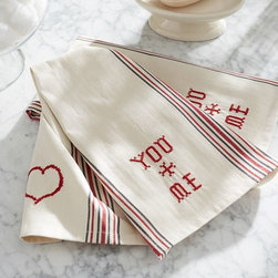 You + Me Embroidered Guest Towels, Set of 2 - These guest towels look vintage, and I love the stripes.