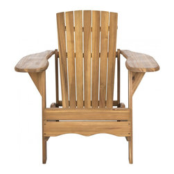 Safavieh - Mopani Chair - Natural - Inspired by the original Adirondack chair designed in 1903, the Mopani Chair exudes 21st century rustic chic charm. Created for sitting back and enjoying conversation, this chair's wide arm rest and deep slat back are crafted for comfort of sustainable acacia wood in natural finish with galvanized hardware.