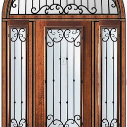 """Prehung Sidelites-Transom Door 96 Mahogany Valencia Low-E 3/4 Lite - Low-E Tempered Double Glazed Patio Mahogany Wood Classic 1 Panel Entry Sidelites-Transom Door Wrought 96"""" Tall Wind-load Rated FSC SFI"""