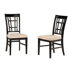 Atlantic Furniture - Montego Bay Dining Side Chair - Set of 2 (Esp - Finish: Espresso in Cappuccino CushionSet of 2. Montego Collection. Creative lattice design. Eco-friendly hardwood. Microfiber foam cushions. Seat cushions feature stain resistant microfiber fabric. Mortise and tenon joinery. Curved chair backs for lumbar support for added comfort. Pictured in Antique Walnut in Oatmeal cushion. 1-Year warranty. Seat height: 19.25 in.. 24.75 in. W x 19.25 in. D x 38.125 in. HAtlantic Furniture's Montego Bay Dining and Pub Chairs will be a wonderful addition to any household. These chairs are comfortable, durable and won't disappoint.