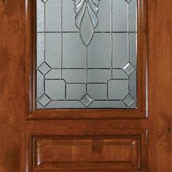 """Slab Single Door 96 Wood Alder Versailles 3 Panel Arch Lite Glass - SKU#E19602BrandGlassCraftDoor TypeExteriorManufacturer CollectionArch Lite Entry DoorsDoor ModelVersaillesDoor MaterialWoodWoodgrainKnotty AlderVeneerPrice1815Door Size Options36"""" x 96"""" (3'-0"""" x 8'-0"""")  $0Core TypeDoor StyleSquare TopDoor Lite StyleArch LiteDoor Panel Style3 PanelHome Style MatchingDoor ConstructionEstanciaPrehanging OptionsSlabPrehung ConfigurationSingle DoorDoor Thickness (Inches)1.75Glass Thickness (Inches)Glass TypeTriple GlazedGlass CamingSatin NickelGlass FeaturesTempered , BeveledGlass StyleGlass TextureGlass ObscurityDoor FeaturesDoor ApprovalsWind-load Rated , SFI , TCEQ , AMD , NFRC-IG , IRC , NFRC-Safety GlassDoor FinishesDoor AccessoriesWeight (lbs)295.2Crating Size25"""" (w)x 108"""" (l)x 52"""" (h)Lead TimeSlab Doors: 7 daysPrehung:14 daysPrefinished, PreHung:21 daysWarrantyOne (1) year limited warranty for all unfinished wood doorsOne (1) year limited warranty for all factory?finished wood doors"""