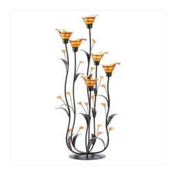 n/a - Amber Calla Lily Candleholder - Slender curving stems support iridescent amber lily blossoms, creating an elegant play of form and color.  Place a candle into each bloom to enhance the night with dazzling light!  Glass, iron and acrylic.  Some assembly required.  May require additional freight charge.  Candles not included.