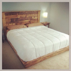 Rustic Style Platform Bed / Headboard - All wood. 100% Hand crafted. Can be made any color stain or painted and whitewashed. Each item is made to order. This item is a Queen
