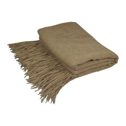 "Pur by Pur Cashmere - Signature Blend Throw Heather Beige 50""x65"" With 6"" Fringe - Merino wool throw. 100% merino wool Dry clean only. Inner mongolia."