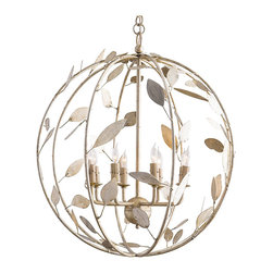 Kathy Kuo Home - Poussin French Country Champagne Leaf Garden Globe Chandelier - A graceful golden orb welcomes family and friends in your entryway. Eight shimmering candelabra bulbs sit amidst champagne-finished leaves, illuminating your living space and casting whimsical woodland shadows on your walls. A gilded chain allows you to adjust the chandelier's height, creating the perfect ambiance.