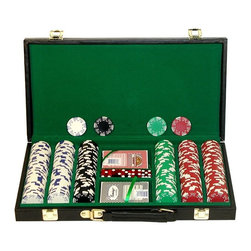 Trademark Global - 300 Pc Royal Suited Poker Chips Set w Vinyl C - Set includes:. Hard vinyl carrying case. 300 Chips. 2 Decks of cards. 5 Dice. 16.5 in. L x 10 in. W x 3 in. H (16 lbs.)These chips are the brand new Royal Suited Chips. These Chips are 39 mm. Dia. casino-sized chips and are 11.5 g. in weight. They are produced from a composite resin and an insert that gives them the weight feel of a heavy casino quality chip. The detail on these chips is great. The card suits around the chip as well as the detailed striping make this the best looking chip we offer in this category. This set includes a sharp vinyl chip carrying case that holds 300 casino chips. The interior is lined with felt. Playing cards depicted are subject to change without notice. It is at our discretion to replace playing cards with a similar product of equal or higher quality at any time.