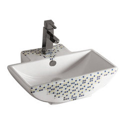 Whitehaus Collection - Whitehaus WHKN4047-03 Ceramic Decorated Above Mount Bathroom Sink Basin - Add style and class to your bathroom! This elegantly crafted modern bathroom sink spices up any setting making your bathroom a dream come true!