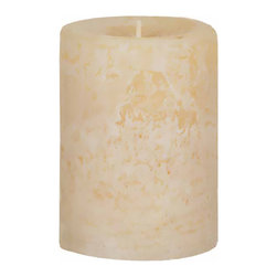 """Oddity - Oddity 3""""x 4"""" Weathered Pillar Candle - Vanilla - Our new line of Weathered Pillar Candles are highly fragranced and feature a very nice distressed look."""