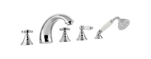 WS Bath Collections Belinda 040 Roman Tub Filler Faucet - The WS Bath Collections Belinda 040 Roman Tub Filler Faucet is a 5-hole bath mixer and hand shower set. This widespread Roman tub filler faucet is a marvel of Italian craftsmanship that showcases a curvaceous spout cross-style handles and its elegantly designed hand-held sprayer and diverter possess matching ivory handles that are quite distinctive. Its spout rises 3.8-inches and reaches an impressive 8.4-inches over your tub for an absolutely luxurious look. These stunning pieces are available in your choice of bronze old copper old silver and polished chrome finish. Product Specifications ADA compliant: No Mount Type: Deck Mount Handle Style: Cross-style handles Spout Height: 3.8 in. Spout Reach: 8.4 in. About WS Bath CollectionsA tradition of fine handcraftsmanship warmth of material and beauty of design characterizes this company's exclusive collection of fine bathroom and kitchen products. The collections include innovative and distinctive sinks washbasins washstands bathtubs bathroom furniture and complementary accessories that provide inspirational solutions for every imaginable decor.