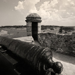 The Andy Moine Company LLC - Fort Matanzas Old Spanish Fort St Augustine Florida Black and White Photography, - Black and White Fine Art Photography captured with 35MM Ilford Film and reproduced in Limited Editions on Canvas OR Brushed Aluminum. This is a beautiful wide angle composition of the historic Spanish Fort Matanzas looking towards the Atlantic Ocean outside St Augustine in Florida.