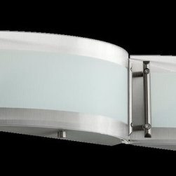 Quorum Lighting - Quorum Lighting Modern / Contemporary Bathroom Light X-56-4-5805 - This Quorum Lighting bathroom light features sleek curves and clean lines that give it an updated, contemporary appeal. The body features a crisp Satin Nickel finish that accentuates these curves while the shades feature a ribbed texture with a white frost and clear border that adds texture and interest, pulling the look together.