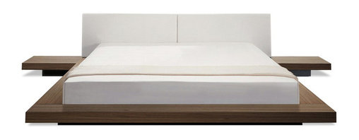 Modloft - Worth White Leather Platform Bed | Walnut Frame, King - Worth Walnut-White Leather Low Profile Platform Bed is Japanese-inspired and has a low profile hardwood frame with matching symmetrical nightstands. This feng shui bed is complimented by an upholstered genuine leather headboard. Also includes two matching nightstands. Platform height measures 7 inches (2 inch inset).