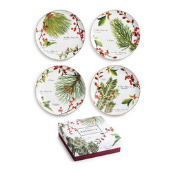 Rosanna - Rosanna Botanica Appetizer Plates, Set of 4 - Our Botanica Appetizer Plates from Rosanna are trimmed in 24KT gold and offer an elegant option for a holiday table. An easy design to layer with other dinnerware, the varied forms of Botanica will small or large spaces feel festive.