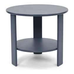 Loll Designs - Lollygagger Side Table Round, Charcoal Grey - The Lollygagger Side Table has that futuristic retro feeling. When you're settling back in the Lollygagger Lounge or Sofa, this table is a splendid companion to hold your favorite beverage or a book when you need to close your eyes for a minute. The lower shelf is a nice spot to keep things free from morning dew or a light rain. No Lollygagger lounge would be complete without this functional little member of the family.