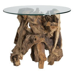 Driftwood Side Table - I have to admit, my dream is to have two of these in my living room. The look of natural and gnarled driftwood side table bases brings an organic element into the room, and they are downright sculptural.