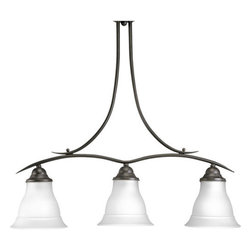 Progress Lighting - Progress Lighting P4325EBWB Trinity Three-Light Single-Tier Energy Star Qualifie - 3-light linear chandelier with etched glass, Brushed Nickel finish and refreshing, romantic forms.Features: