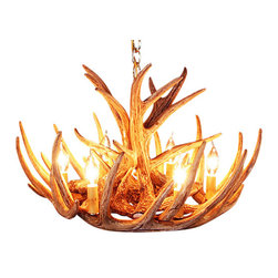 Muskoka Lifestyle Products - Rustic Whitetail 9 Antler Cascade Chandelier with 6 Lights - Our Rustic Whitetail 9 Antler Cascade Chandelier is the best faux antler chandelier available on the market. We have taken our replication process from our other rustic decor items and matched the authentic finish. Real antlers are used to model the reproduction for an exact and comparable result. The process to create the antler chandeliers uses a time proven, cast resin system to ensure perfection in every piece. We have hand-stained and antiqued each antler to achieve the exact comparable match to the real antler. Bring the perfect rustic decor to your home, cabin, or office with these antler chandelier reproductions. From the large majestic options to the quiet accent lights, our reproduction antler chandeliers are perfect for entry ways, pool tables, dining room tables, living rooms, offices, or anywhere you want to hang them to create the perfect, natural look in any room. All antler chandeliers are UL listed to ensure absolute safety, quality, and US building code parameters are met.