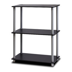 Furinno - Furinno Turn-N-Tube Toolless Shelf, Black/Grey, 3-Tier - This series is designed to meet the demand of fits in space, fits on budget and yet durable and efficient furniture.