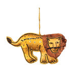 Sitara Collections - Handcrafted Zardozi Ornament - Lion - The King of the Jungle Makes a Fierce additiom to Either Holiday or Everyday Decor. Carefully Placed Sequins, Skillful Embroidery, and Details Such as the Liom's Fringed Mane Showcase Both the Thoughtful Design and Extraordinary Talent Behind this Gorgeous Golden Liom. Color: Gold, Black and Brown. Shape: Liom. Dimensioms: 3.0 inches High X 6.0 inches Wide X .75 inches Deep. Materials: Fabric, Thread, Sequin Beads. Hanging instructioms: Hang with attached Loop.
