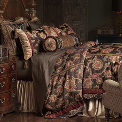 """Frontgate - Cassandra Comforter - Super Queen, Hand Tacked - From Eastern Accents Marquise collection. Button-tufted and hand-tacked comforters have two layers of decorative fabric with polyester batting secured inside to prevent shifting. Twin - 63"""" x 88"""" Queen - 88"""" x 90"""" Super Queen - 96"""" x 98"""" King - 102"""" x 90"""" Super King - 114"""" x 98"""" California King - 104"""" x 100"""".. Dry clean only recommended. Because this bedding is specially made to order, please allow 4-6 weeks for delivery.. Experience Old World opulence with our Cassandra Bedding Collection. Luxurious damask and velvet fabrics in high contrast jewel tones meet ornate trimmings to convey the highest level of aristocratic taste.  .  .  .  . . Made in USA of imported goods. Part of the Cassandra Bedding Collection."""