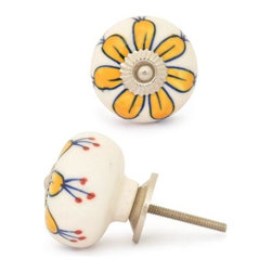 """Knobco - Ceramic Knob, Yellow Flower with White Base - Yellow Flower with White Base Ceramic knob, perfect for your kitchen and bathroom cabinets! The knob is 1.8"""" in diameter and includes screws for installation."""