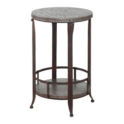 Powell - Powell Foundry Antique Pewter Round Accent Table - The foundry round utility table is crafted from sturdy metal and MDF . Accented with small rounded feet, this piece has an antique pewter finish. A spacious round tabletop and bottom shelf provides ample storage or display space. The perfect chair or sofa side table. Some assembly required.
