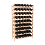 54 Bottle Stackable Wine Rack in Pine with Satin Finish - Three times the capacity at a fraction of the price for the 18 Bottle Stackable. Wooden dowels enable easy expansion for the most novice of DIY hobbyists. Stack them as high as you like or use them on a counter. Just because we bundle them doesn't mean you have to as well!